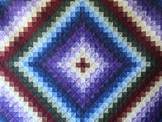 Blue Green And Purple Trip Around The World Quilt Hannah S Quilts