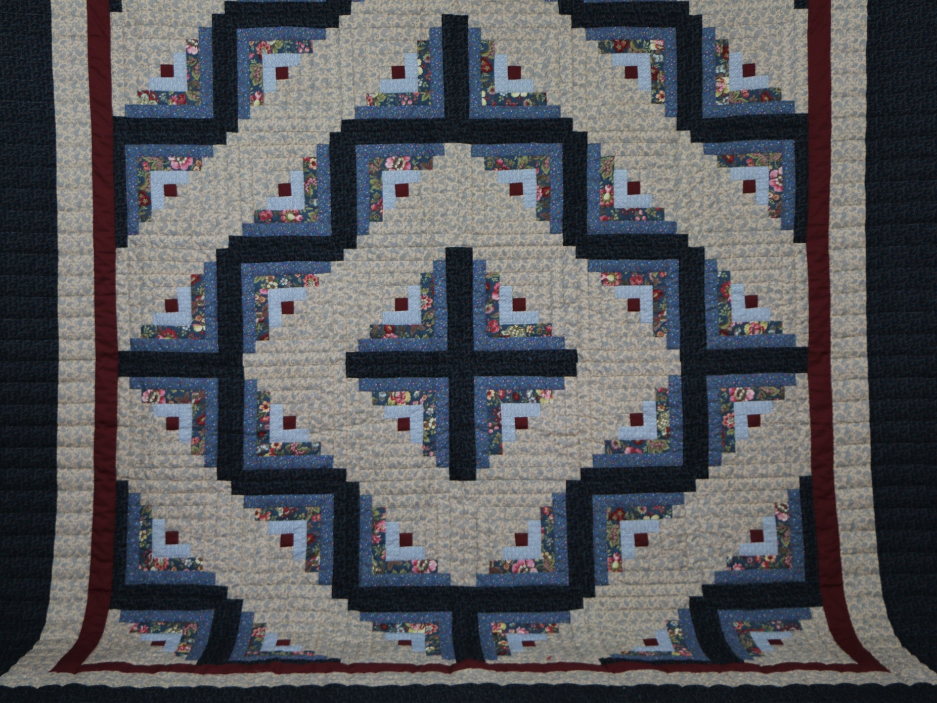 Dark Blue Tan And Cranberry Log Cabin Quilt Ruth Flaud